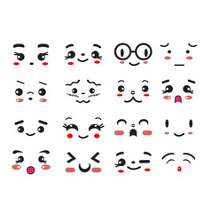 kawaii cute smile emoticons and japanese anime vector image