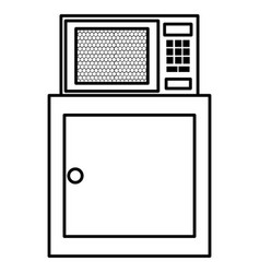 Kitchen drawer wooden with microwave oven vector