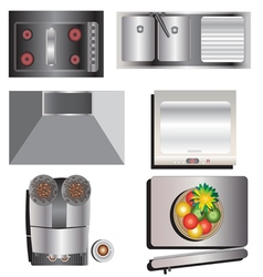 Kitchen equipment top view set 7 vector image