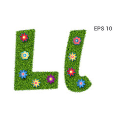 Letter ll with a texture of grass and flowers vector