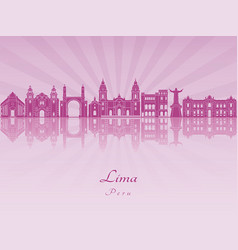 Lima skyline in purple radiant orchid vector