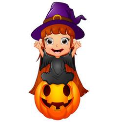 Little witch cartoon sitting on the pumpkin vector