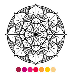 Mandala coloring page for adults antistress vector