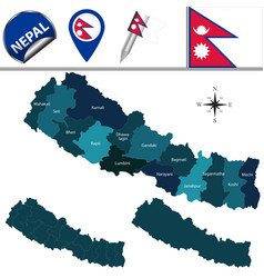 Map of nepal with zones vector
