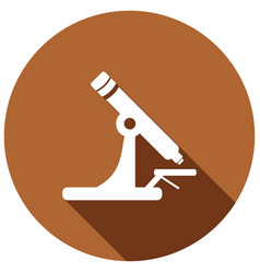 microscope icon with a long shadow vector image
