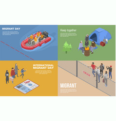 Migrant refugee banner set isometric style vector