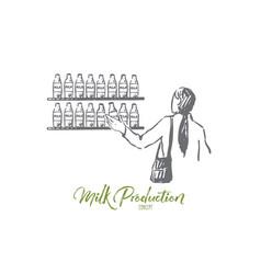 milk shop customer store bottle concept vector image