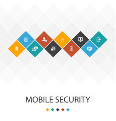 Mobile security trendy ui template infographics vector