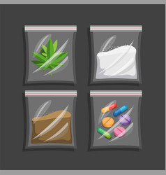 Narcotic in plastic bag collection set vector