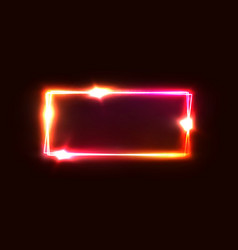 Neon rectangle frame square geometric shape vector