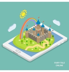 Online fairy tale reading isometric vector