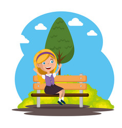 park chair scene with little girl vector image