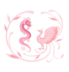 Pink Dragon and phoenix for symbolism in Chinese vector