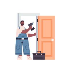 Professional african american handyman in uniform vector