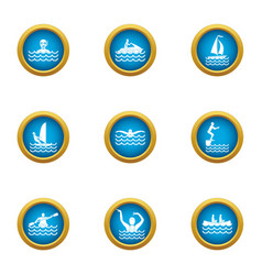 Recreation water icons set flat style vector
