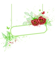 Red flowers and bird vector