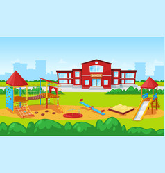 School building and yard playground for kids city vector
