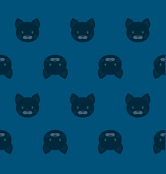 seamless pattern - cartoon black cats on blue vector image