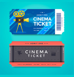 set cinema tickets with retro movie camera vector image