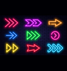 set glowing neon arrows glowing neon arrow vector image