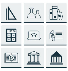 Set of 9 school icons includes distance learning vector