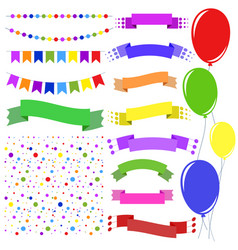 set of flat colored insulated garlands confetti vector image