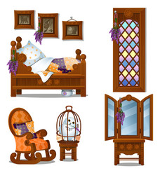 set of wooden furniture in the style of halloween vector image