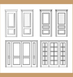 set technical drawing vector image