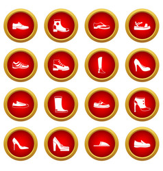 Shoe icon red circle set vector