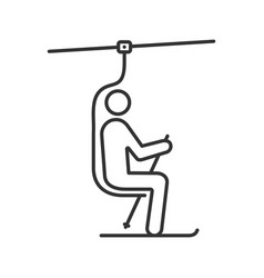 Ski chairlift with skier linear icon vector