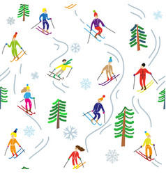 ski sport in mountains seamless pattern vector image