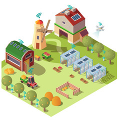 Smart ecological farming isometric concept vector