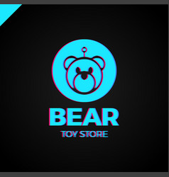 Space robot bear logotype toy store icon vector