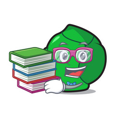 Student with book brussels mascot cartoon style vector