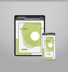tablet and smartphone screns cross platform vector image
