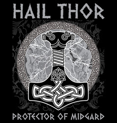 thor s hammer - mjollnir against the backdrop of vector image