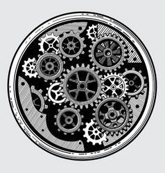 Vintage industrial machinery with gears cogwheel vector