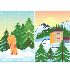 Winter holidays landscape vector