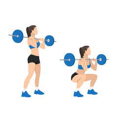 Woman doing front barbell squat exercise vector
