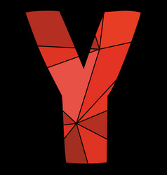 Y red alphabet letter isolated on black background vector