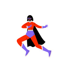Young woman in bright superhero costume and mask vector