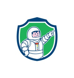 Astronaut Pointing Front Shield Cartoon vector image