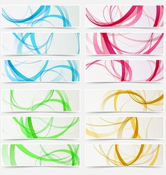 Bright swoosh line structure abstract header set vector image vector image