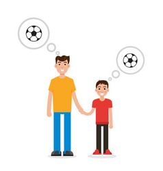 father and son thinking about soccer character vector image vector image