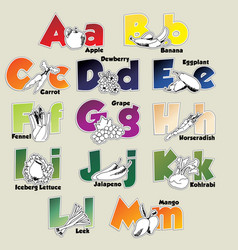 Fruits and vegetables alphabet from a to m vector