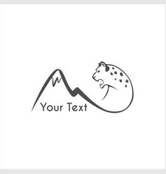 leaping snow leopard logo sign emblem vector image