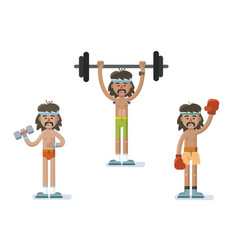 set of funny cartoon man characters doing exercise vector image