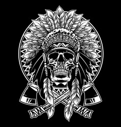 skull of native american warrior with tomahawk vector image