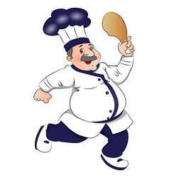 Chef running with meat in hand vector