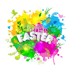 colorful happy easter greeting card with spring vector image